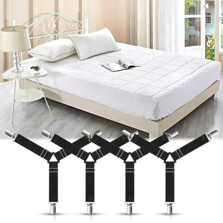 Fitted Sheets 4 PCS Adjustable Bed Sheet Fastener and Triangle Elastic Mattress Cover Clips Suspenders Grippers Fasteners Heavy Duty Keeping Sheets Place for Flat Sheets black Ironing Board Cover /& More Bedding Mattress Bed Sheet Holder Straps