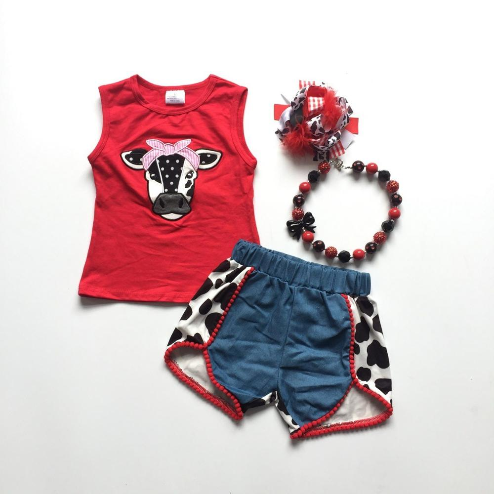 baby girls clothes cow head red top milk cow shorts girls ...