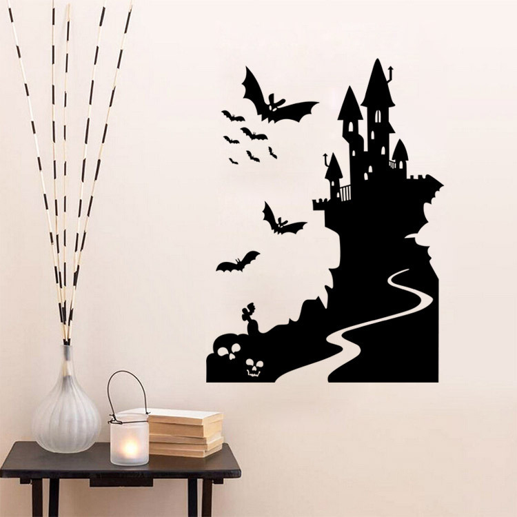 9423 Halloween Bat Castle And Haunted House Stickers Halloween Party Wall Decals For Entrance Background Of Home School And Shop