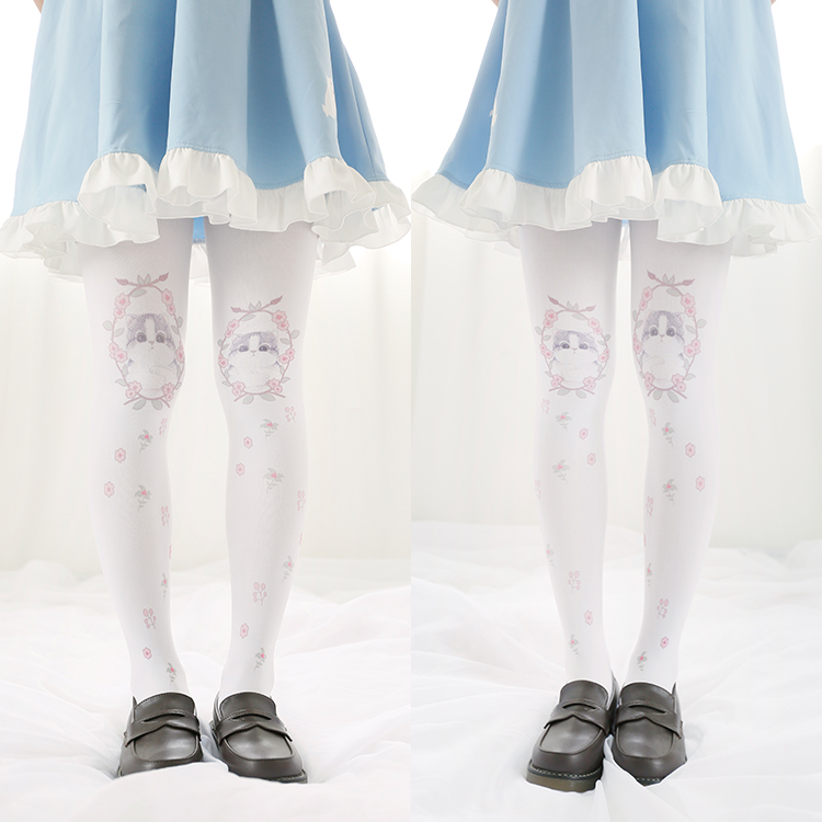 Princess sweet lolita Podresum pantyhose Cute pussy Print Velvet tight cosplay lovely maid soft pantyhose 120D ymx07 ...