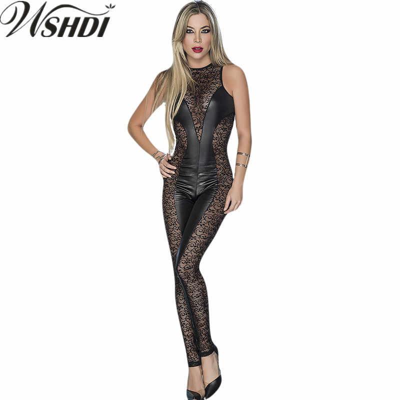 ba710d911c New Arrival Women s Pvc Latex Jumpsuit Zipper Catsuit Bodysuit Sexy Black  Lace Patchwork Vinyl Leather Wetlook