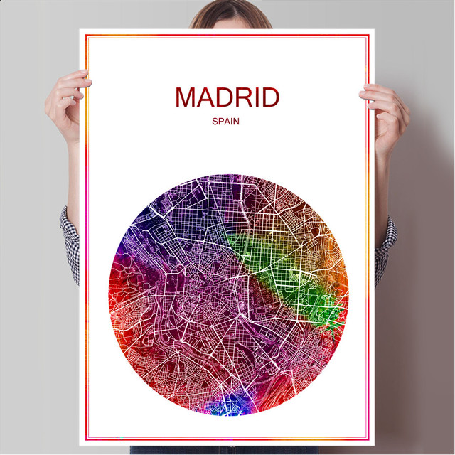 Map Of Spain For Printing.Us 1 99 Abstract World City Map Madrid Spain Print Poster Print On Paper Or Canvas Wall Sticker Bar Cafe Living Room Home Decoration In Wall