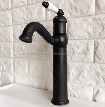 Oil Rubbed Bronze Basin Faucet Ceramic Handle Single Hole Bathroom Hot and Cold Mixers Lavatory Sink Washing Tap Knf369 black oil rubbed bronze bamboo style bathroom basin faucet single handle single hole deck mounted vessel sink mixer tap wnf024