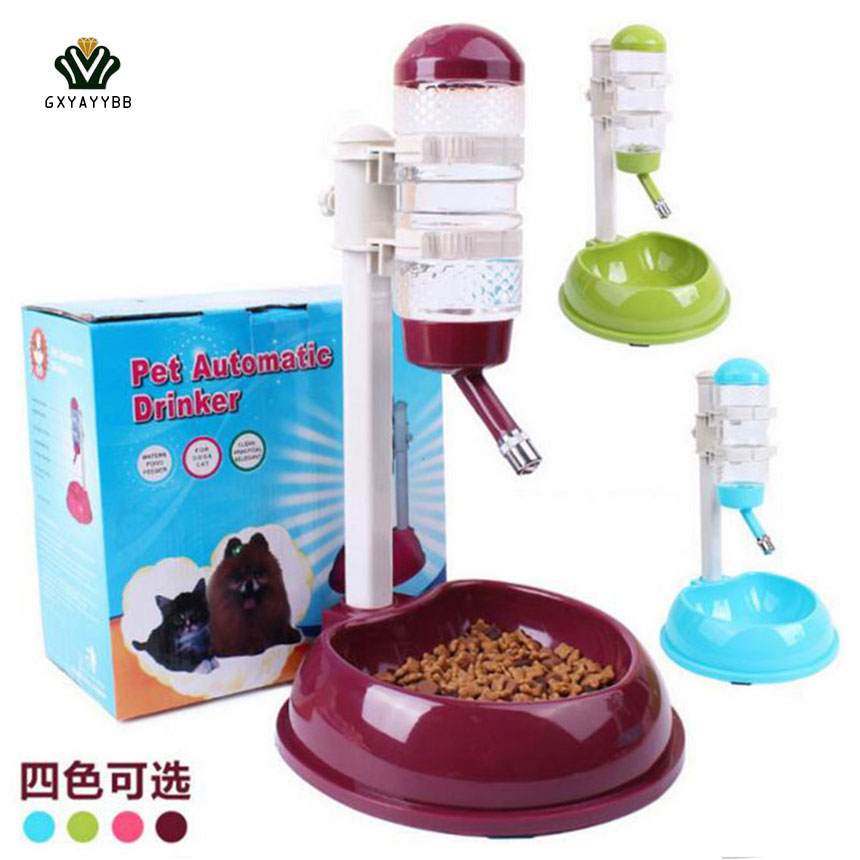 GXYAYYBB Dog <font><b>Food</b></font> Bowl Automatic <font><b>Water</b></font> Dispenser Stand Feeder Bottle Plastic Dog Cat Drinking Fountain <font><b>Food</b></font> Dish Pet Supplies