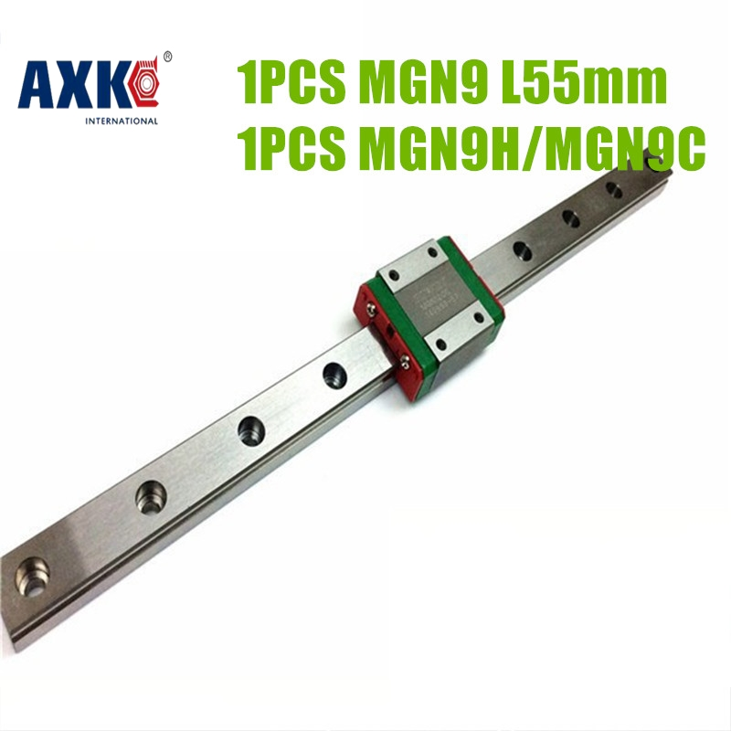 AXK  linear guide rail china mgn9c + 9mm linear rail mgn9- L55mm rail guide bearing block for CNC X Y Z Axis  linear guide china pocket guide