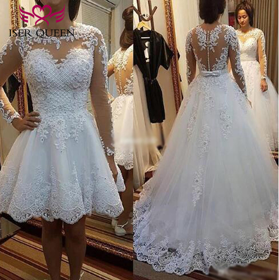 Long Sleeve 2 In 1 A Line Brazil Wedding Dress 2019 New Illusion Lace Appliques Pearl Beading White Wedding Dresses Gown W0278-B