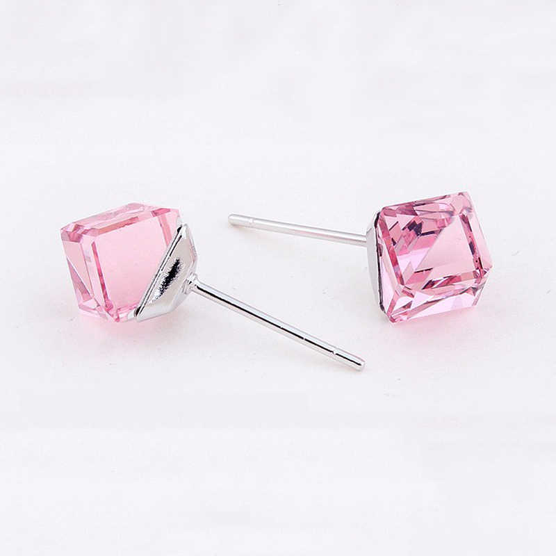 Baffin Original Crystals From Swarovski Piercing Earrings For Women Silver Color Cube Stud Earring Jewelry Gifts Wholesale
