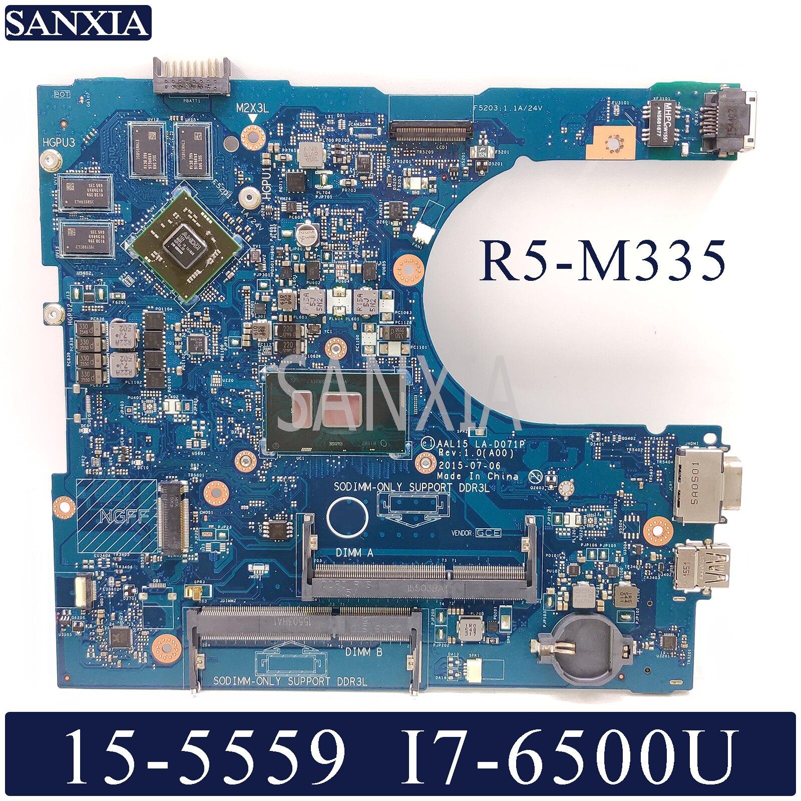 KEFU LA D071P Laptop motherboard for Dell Inspiron 15 5559 original mainboard I7 6500U R5 M335