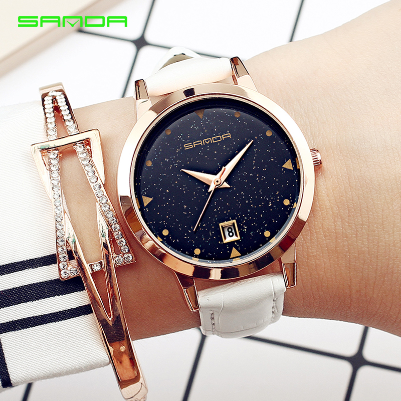 2018 Luxury Brand Women Watches Fashion Dress Ladies Watch Rose gold Star dial Design Leather Strap Quartz Watch Clock Women gaiety brand women fashion leather watch rose gold ladies dress wristwatch leather band sport clock women quartz watch g502