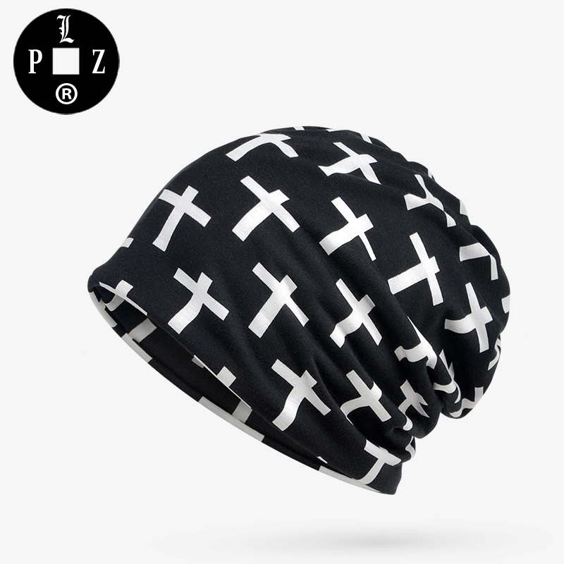 PLZ Hiphop Men Beanies Europe and the United States Style Print Cross Beanie Hat Elastic Fashion Summer kerchief Scarf For BBoy 20 colors fall and winter europe and the united states men and women s bad hair day embroidery beanie kintted wool hat hiphop