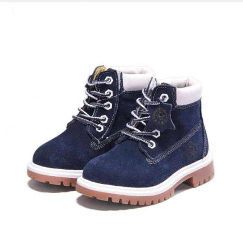 DapChild Autumn Winter Fashion Martin Boots For Children Genuine Leather Shoes Baby Girl Snow Boot Brand Boys Ankle Boots 2016 winter children genuine leather boots brand boys cotton buckle shoes fashion ankle martin boots for kids