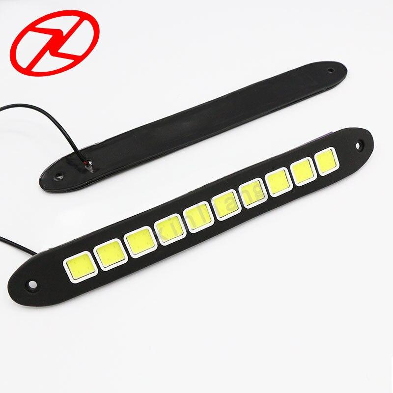 2PCS LED DRL super jasné Flexibilní denní světlo COB auto vodotěsné Mlhovka čtvercová LED denní světlo 6000K bílá