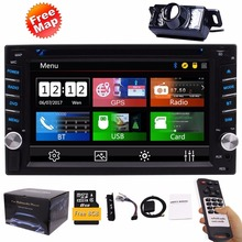 FREE Backup Camera Included 2Din Car Stereo DVD Player GPS Navigation Radio Bluetooth 2 Din Capacitive touch Screen USD SD 1080P