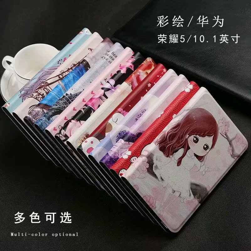 Case for Huawei MediaPad T5 10 Cases AGS2-W09 AGS2-L09 AGS2-L03 10.1'' Tablet PC Fashion Painted PU Leather Cover +pen+ Flim