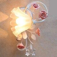 Париж led керамика Роуз настенные светильники, Ночной сад настенный светильник E27 Led Настенные светильники для Спальня Прихожая Коридор гале