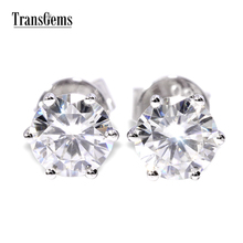 TransGems 1 CTW Carat Brilliant Lab Moissanite Simulated Diamond Earrings White Gold Stud Earring Women Wedding Engagement Gift