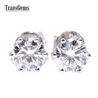 TransGems 1 CTW Carat Brilliant Lab Moissanite Simulated Diamond Earrings White Gold Stud Earring Women Wedding