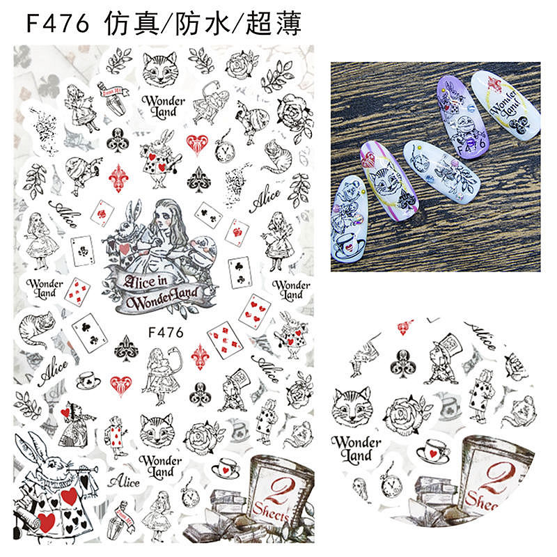 1 Sheet Line Drawing Cat Rose Flowers Lady Alice In Wonderland Poker Bow Tie Waterproof Adhesive Nail Art Stickers Decals F47x Aliexpress