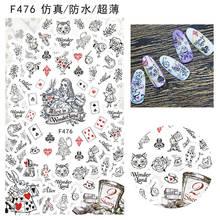 Adesivos para arte em unhas, adesivos à prova d'água para desenho em folha de flores, gato, rosa, alice, maravilha, tiara de pôquer f47x f47x