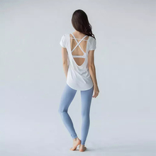 Breathable Yoga Tops Women Short Sleeve Cover Up Backless T-shirt Thin Loose Sport Tee Gym Fitness Jersey