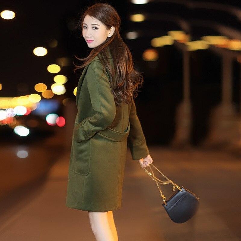 Office Slim Coréen Mélange Army Longue pourpre Pour Laine Manteau Mode De Femmes Des Lady Poches Veste Green Double Femme Breasted wpx6qIrw5