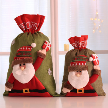 10pcs/lot Free Shipping Top Quality Wholesale Christmas Gift Bags Christmas Decorations For Home Drawstring linen Gift Bag XMAS