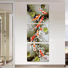 Vintage home decor Hand painted canvas Triptych oil paintings wall pictures for living room Lotus fish painting by number MK112(China)