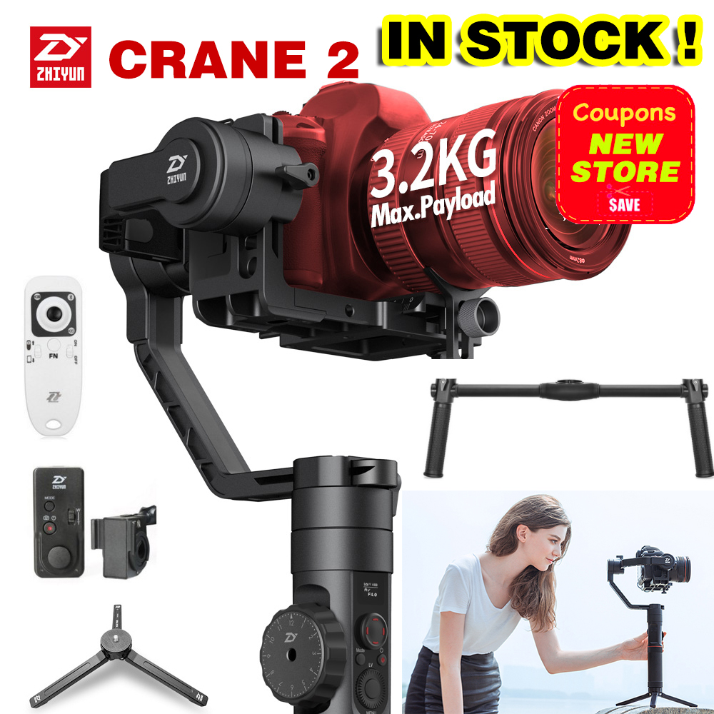 2018 Newest Zhiyun Crane 2 3-Axis Handheld Gimbal Video Camera Gyro Stablizer for DSLR Mirrorless Camera Canon 5D2/5D3/5D4 DHL professional dv camera crane jib 3m 6m 19 ft square for video camera filming with 2 axis motorized head