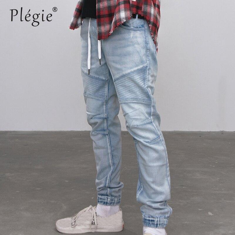 Plegie 2018 Autumn Men Jeans Denim Jogger Draw rope Design Hip Hop Joggers For Men Skinny Biker Jeans Hip hop Denim Pants