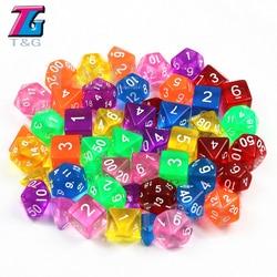 Dungeons & dragons 7 pçs/set t & g polyhedral rpg jogos dados com efeito de mármore transparente D4-D20 pop para o jogo de tabuleiro