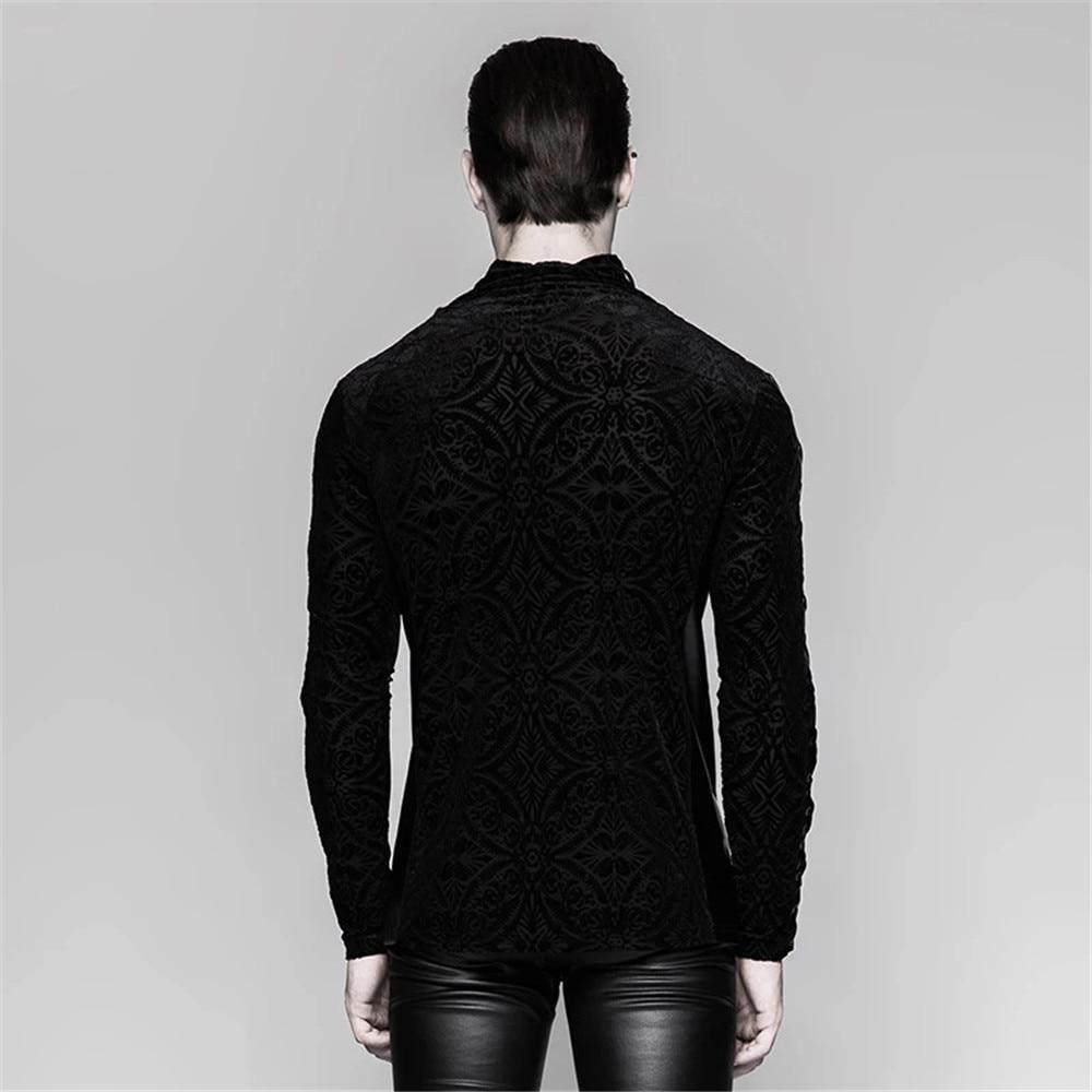 Великолепный готический черный Для мужчин футболка Винтаж плотно, с длинным рукавом плотная футболка стенд воротник Весна футболки - 3