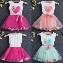 Princess Party Baby Toddler Girls Lovely Fancy Flower Petal Tulle Dress 1 4Y FF