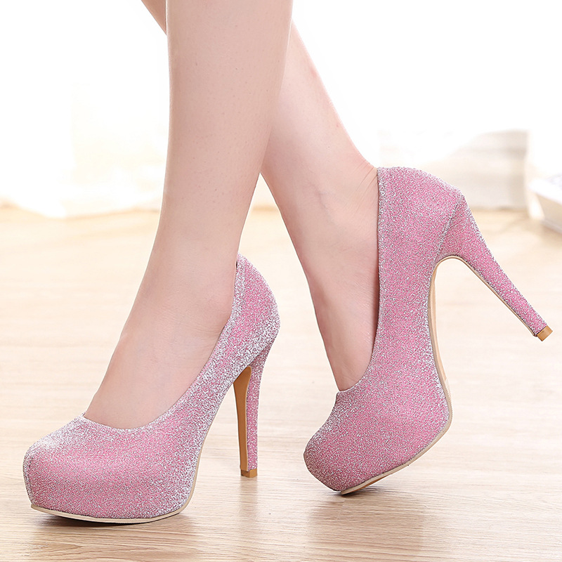 silver Lakeshi Chaussures Talons Mode Black Minces Femmes Hauts Bling forme De Plate À Parti pink Argent Bout Mariage Pompes Sexy Rond wqwWRrpz