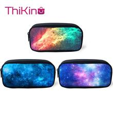 Thikin 3PS Galaxy School Pencil Bags for Teens Pen Bag for Student Pencil Case Girls Makeup Storage HandBags Pen Purses for Kids veevanv animal wolf printing case holder casual pencil purse cute animal purses kids wallets school case for student pencil bags