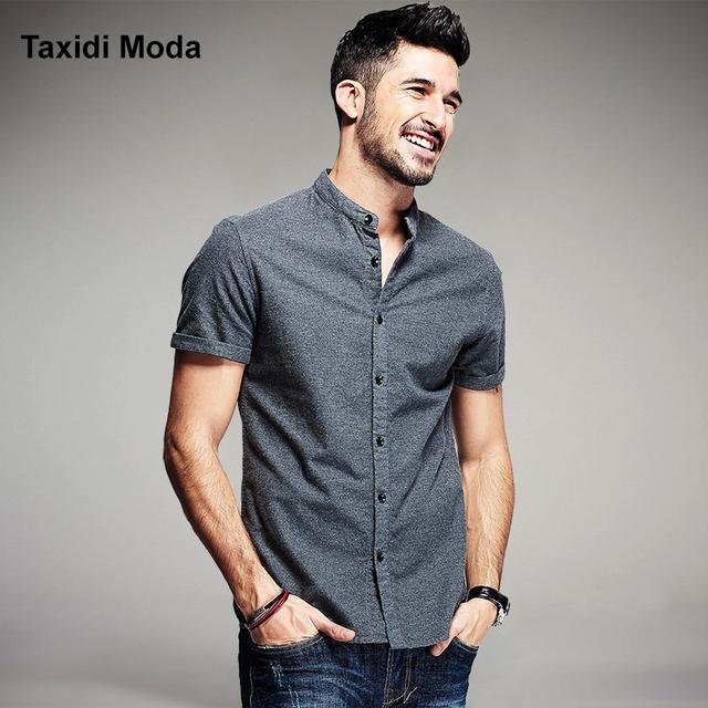 Nuevo verano de moda para hombre camisetas 100% algodón de la marca de clothing gris ropa de hombre slim fit de manga corta masculina ropa más tamaño