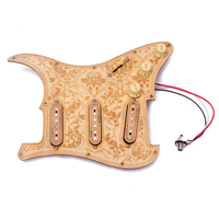 Loaded Prewired Wooden Guitar Pickguard Maple Wood Plate SSS Pickups with Decorative Flower Pattern for Electric Guitars