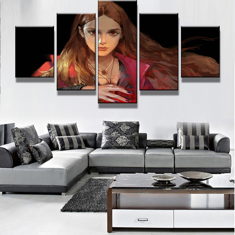 5 Pieces Cartoon Comic Book MarvelS The Avengers Scarlet Witch Home Wall Decor Canvas Picture Art