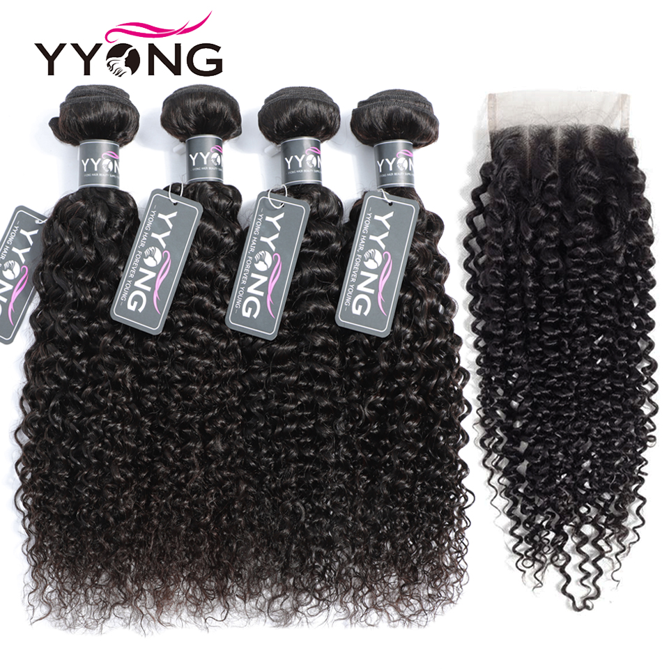 Purposeful Yyong 5 Pcs/lot Brazilian Kinky Curly Weave 4 Human Hair Bundles With Closure 4x4 Medium Brown Swiss Lace Can Be Dyed Non Remy Price Remains Stable Home