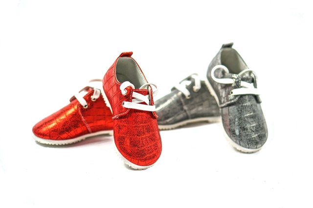 Fashion British style Baby oxford shoes Genuine Leather Baby boys shoes lace up Baby moccasins Anti-slip hard sole sports shoes