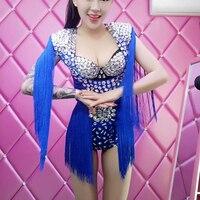 Настроить Сексуальная певица DJ этап синий кисточкой Одежда Клуб Полюс Танцы одежда для вечеринки джаз танец костюм Одежда для сцены DJ134
