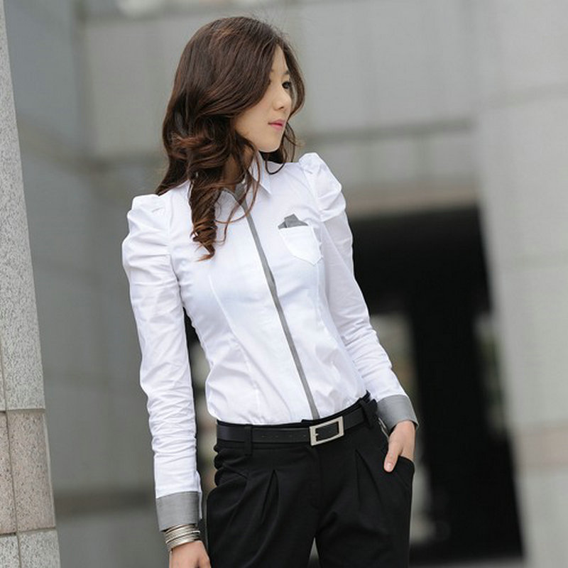Aliexpress.com : Buy Office Ladies Elegant White Shirts Long ...
