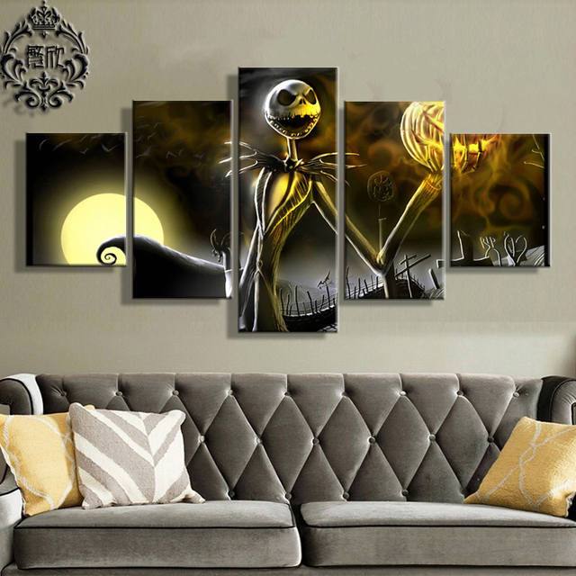 Beautiful Canvas Printed Painting Artwork Pictures 5 Pieces Home Decor For Living Room  Jack Skellington Modern Wall Part 16