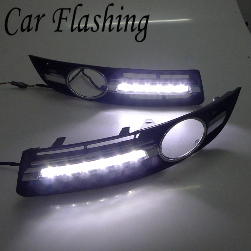 Car Flashing 2pcs for VW Volkswagen Passat B6 2007 2011 LED DRL Daytime Running Light Driving