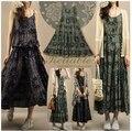 Chegada nova 2017 mulheres moda verão imprimir vestidos de seda de algodão dress literário big bohemian retro floral strap dress para a menina