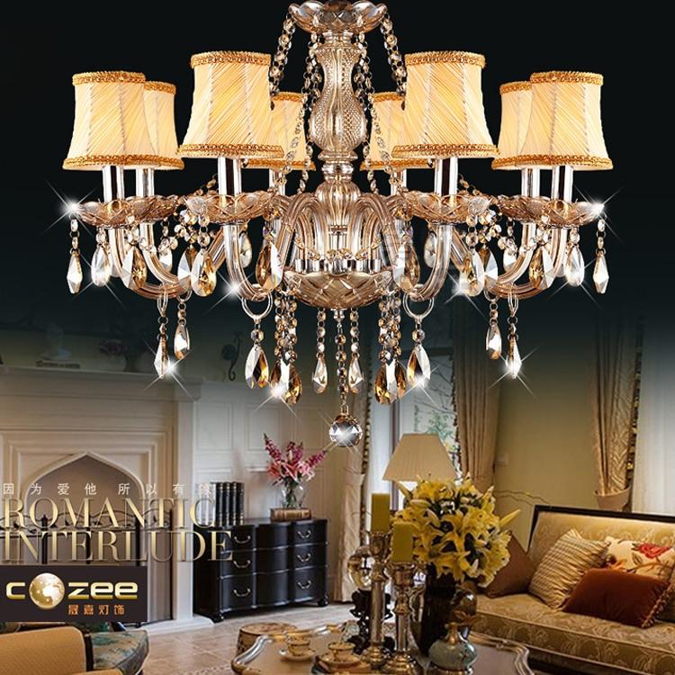 ФОТО Modern K9 Crystal Chandelier Lighting Cognac Coloured Cristal Lamp Chandeliers Hanging Lights with Fabric Lampshade Indoor Decor