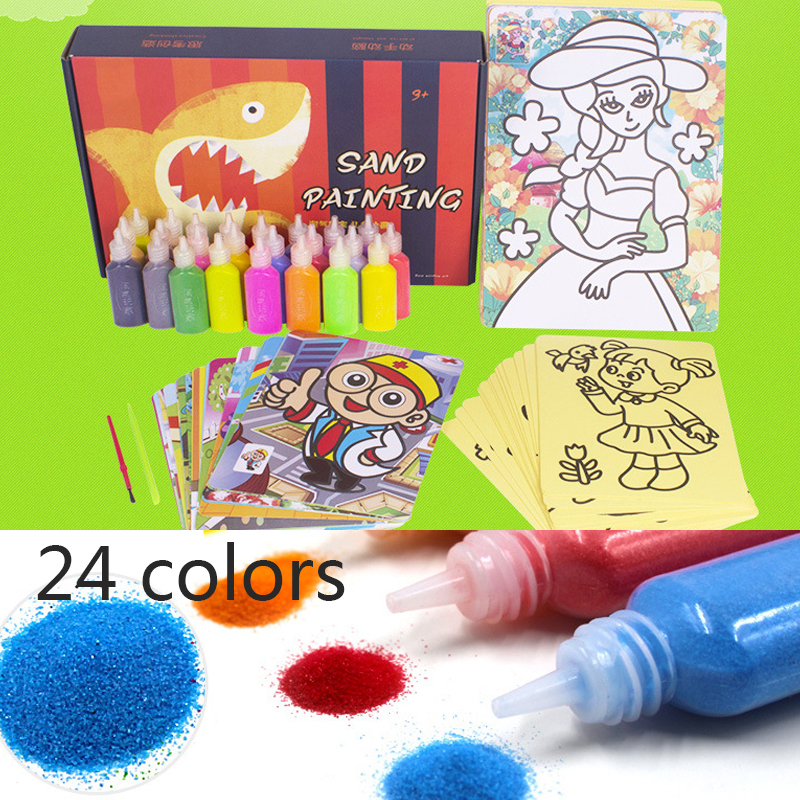 24 Colors Children Kids Drawing Toys Sand Painting Pictures Kid DIY Crafts Education Toy Drawing Toys the stars drawing pictures on canvas diy digital oil painting by digital painting decoration unique gift