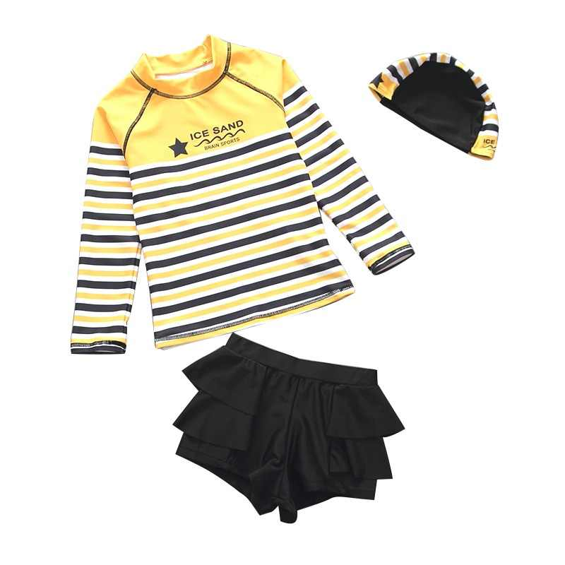 2-Piece Girls Swimwear Beach Swimsuit UPF50 UV Protective Sunblock Bathing Suit Swimming Suits Yellow Stripes Children Swimsuits