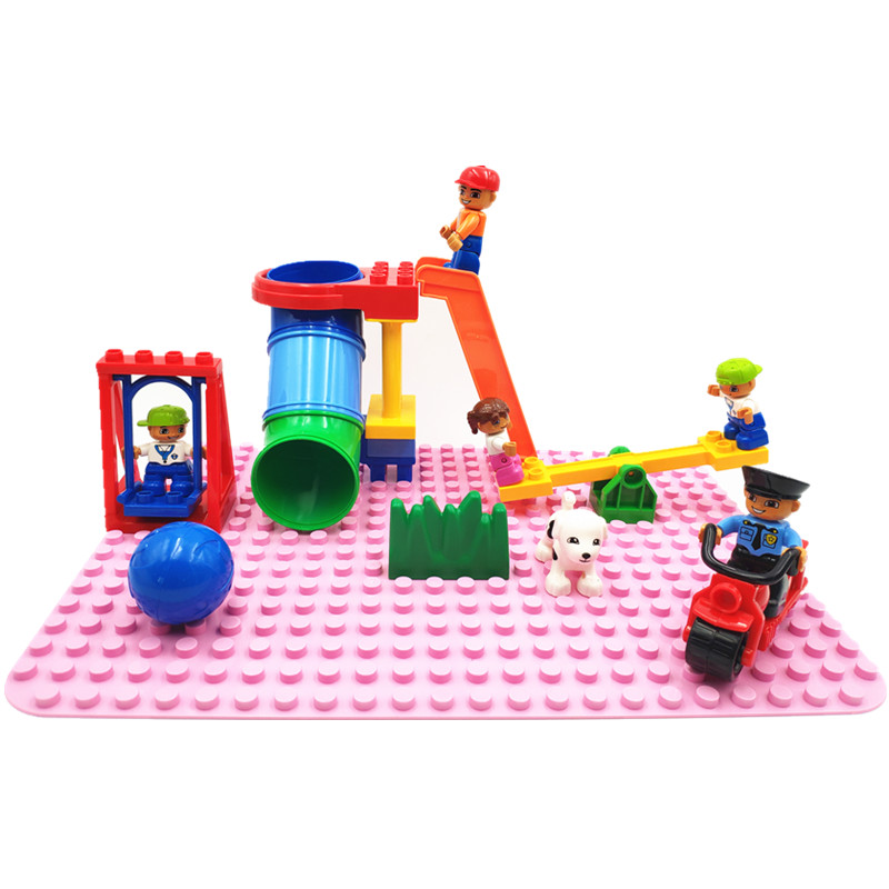 Big Size Diy Building Blocks  Accessories Tube Seesaw Swing Figure Compatible With Duploed Bricks Toys For Children Kids Gift