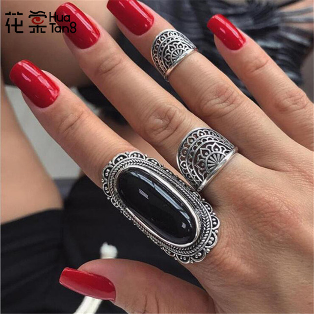HuaTang Antique Silver Color Black Rhinestone Rings for Women Tribal Hollow Flow