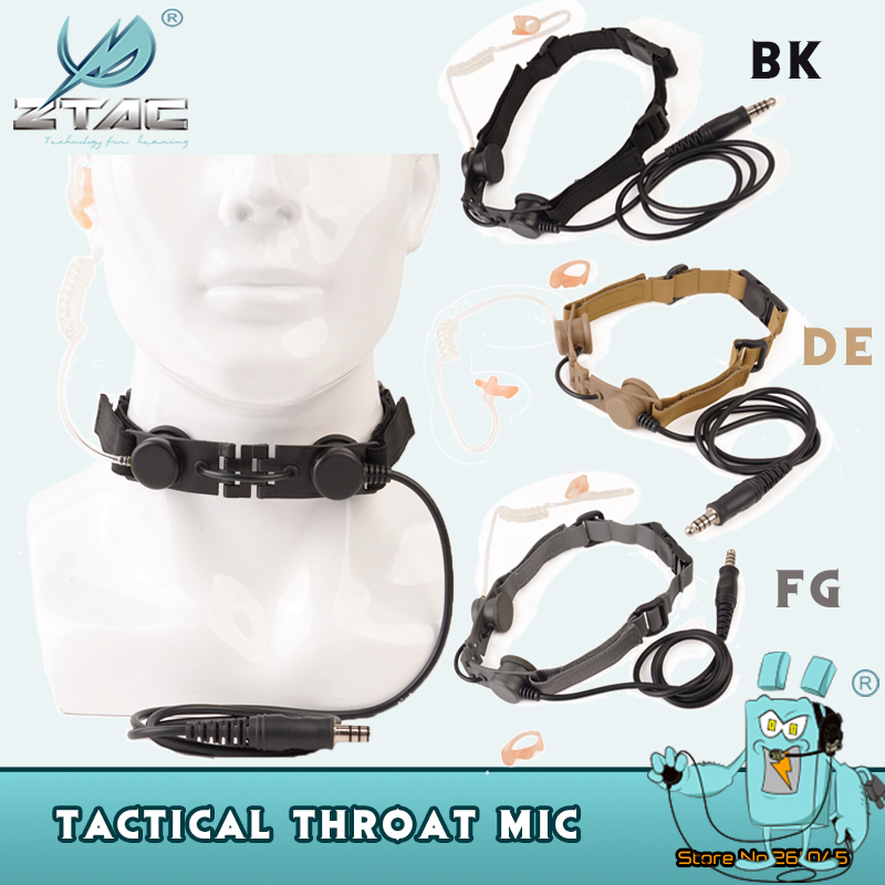 Z Tactical Airsoft Throat Microphone Military Headset Hunting Bodyguard Sniper Throat Mic Tube Tactical Headphones Softair Z033